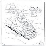 Kleurplaten Winter - Vader op de slee