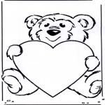 Thema Kleurplaten - Valentijn beertje