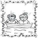 Thema Kleurplaten - Valentijn bootje
