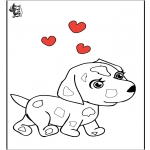 Thema Kleurplaten - Valentijn hond