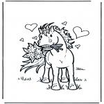 Thema Kleurplaten - Valentijn paard