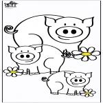 Kleurplaten Dieren - Varkens 4