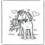 Kleurplaten dieren - Verliefd paard