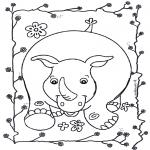 Kinderkleurplaten - Vrolijke neushoorn