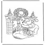 Stripfiguren Kleurplaten - Winnie de Poeh als kerstman