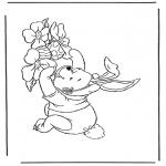 Stripfiguren Kleurplaten - Winnie de Poeh als paashaas