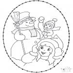 Kleurplaten Winter - Winter borduurkaart