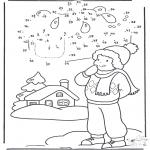 Kleurplaten Winter - Winter cijfertekening 1