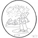 Kleurplaten Winter - Winter prikkaart 1