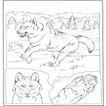 Kleurplaten Dieren - Wolf in de sneeuw