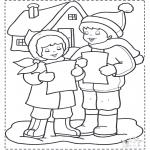 Kleurplaten Winter - Zingen in  de sneeuw